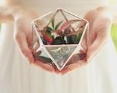 NEW! Mini Geometric Terrarium / Icosahedron / Ring Pillow Alternative / Wedding Ring Box / Glass Box / Geometric Glass Box / Ring Bearer Box