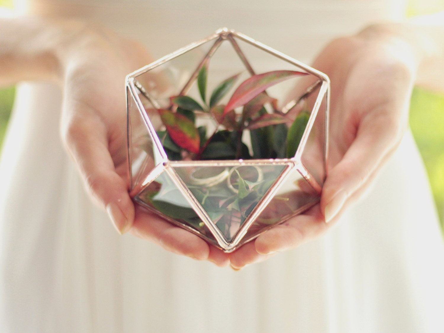 Mini Geometric Terrarium, Wedding Band Box, Ring Bearer Box, Ring Pillow, Wedding Ring Box, Glass Jewelry Box, Geometric Box, Icosahedron