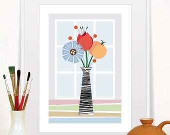 Modern Kitchen Decor, Flower Art, Kitchen Retro Flower Decor, Mid Century Modern Flower Print, Size A3 or 11x14