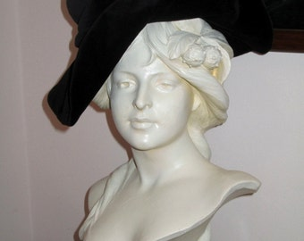 Black Cotton Velvet Hat from Covent Garden, London, England