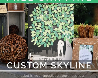 Wedding Signature Tree // Personalized Canvas Skyline & Silhouette Keepsake // 175 Signature Guestbook // W-T05-1PS HH3