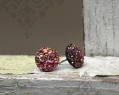 Pink and Gold Glitter Earrings, 12mm Faux Druzy on Stainless or Titanium Posts, Rose and Gold Sparkle Studs