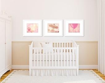 girl nursery art, set of 3 prints, pink wall art, girl room pink, carnival art, toddler girl art, toddler girl room, pink wall decor