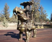 Temple Guardian Lion Foo Dog Candle Holder Bronzed Brass Sculpture Statue Figurine