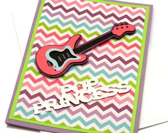 Guitar Birthday Card - Pop Princess - Bday Cards For Woman - Happy Birthday Her - Girlfriend Birthday - Cards For Sister - Greetings Cards