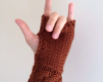Alpaca Knit Hand Warmers / Cable Fingerless Mittens in 100% Baby Alpaca Gloves