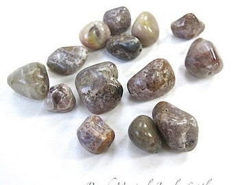 Earthy Brown Gray Gemstone Chunky Jasper Tumbled Nuggets Multicolor Rustic Real Stone Beads 14mm 12mm 10mm Drilled Gemstones 14 Pieces SP354