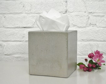 Concrete Tissue Box Cover / Kleenex Tissue Box Cover / Square Tissue Box Cover