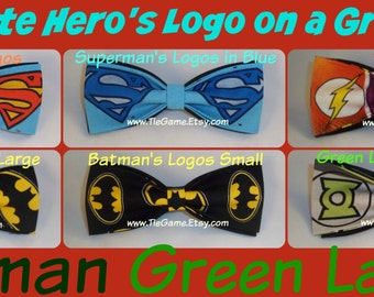 BowTies Made From DC Comics Fabric - Choose From Six Great Looking Logo Bow Ties, Choose Your Favorite JLAers - U.S. SHIPPlNG ALWAYS 1.99