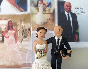 Custom Bride and Groom Wedding Cake Topper *Pilot Wedding Cake Topper * Created from your Ideas and Photos