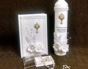 Personalized First Communion Candle Gift Set