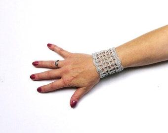 Grey Crochet Wrist Cuff with Metallic Thread Crochet Bracelet Mesh Cuff Boho Bracelet Gypsy Goth Cuff