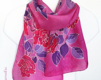 Hand painted silk scarf - Red roses pink scarf - Floral silk scarf - Pink Red silk scarf, Red roses purple leaves, Artist silk scarf roses