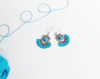 Mother's Day gift trends Ohrringe. Hand Crocheted Earrings   Hippie Chic  Turquoise Earrings  MOTHERS DAY