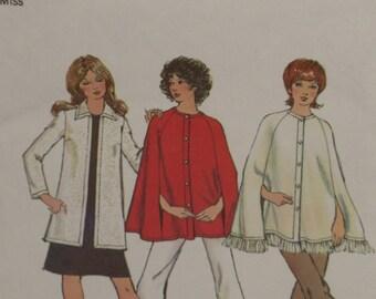 Simplicity 9869 Pattern Misses' Cape & Cardigan Size 16 Retro 1972