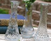 ON SALE! Vintage Clear Glass Bud Vases Set of 3 - Mismatched Petite - DIY Wedding - Bridal/Baby Shower - Floral Centerpieces (#BV019)