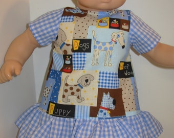 """15 inch Bitty Baby Clothes, Adorable """"PUPPY DOG"""" Dress, 15 inch AG American Doll Bitty Baby/Twin, 15 inch Doll Clothes, Love My Puppy Dog!"""