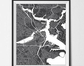 Boston Map Art Print, Boston City Map of Boston Art Poster of Massachusetts State Map Boston College Art Print Grad Gift Dorm Art
