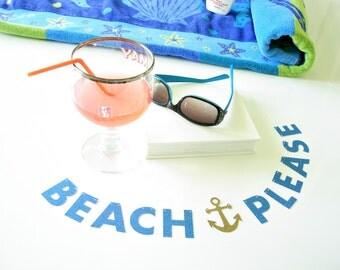 "MINI Beach Please Banner, Office Desk Accessory, 1.5"" Cubicle Decoration, Glitter Letter Garland, Coworker Gift, Nautical Beach Home Decor"