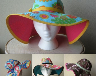 Custom Sun Hat - Floppy Hat - Cotton Beach Hat - Made To Order