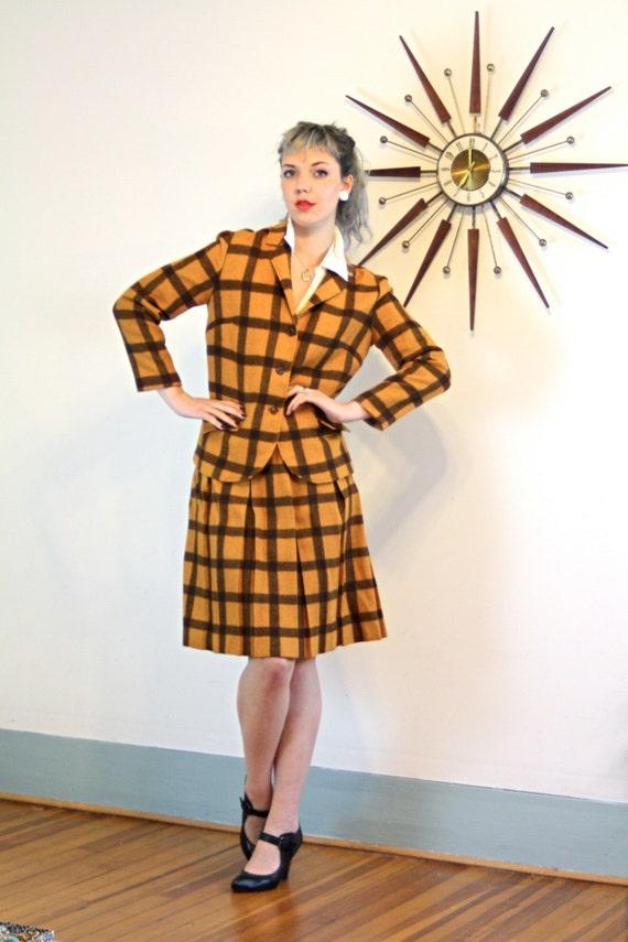 Plaid two piece suit, Vintage 60s Jacket & Skirt Set, Orange Brown plaid suit, Ladies Blazer, Pleated Skirt, 1960s Womens suit, plaid skirt