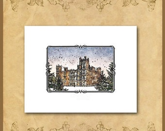 Downton Abbey Note or Xmas Cards / Highclere Castle Winter Snow Stationery / Digital Watercolor / Happy Christmas / Greetings of the Season