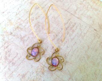 Opal Earrings, Fire Opal Earrings, vintage opals
