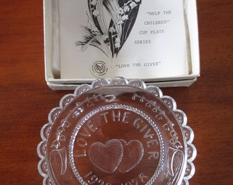 Vintage Glass Cup Plate Love The Giver 1928-1978 Plate #246 Glass Plates Two Hearts Lily of the Valley   Pairpoint Glass Sagamore Mass