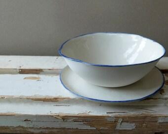 Dish Set of 2, Blue White Porcelain, Cottage Kitchen, Shabby Chic Decor, Rustic Wedding, Dinnerware Set, Breakfast Set, SCULPTUREinDESIGN