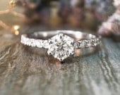 0.75CT Diamond Engagement <Prong> Solid 14K White Gold (14KW) Affordable Women's Wedding Ring *Fine Jewelry* (Free Shipping)