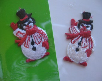 Snowman Sew On Appliques, Set of TWO, Holiday Trim, Clothing Applique