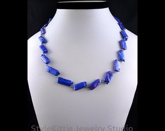 Purple Blue, Biwa Pearls, Tanzanite, 925 Sterling Silver, Necklace, Rectangle, Thai Silver Faceted Nuggets, Gemstone, Adjustable, Jewelry