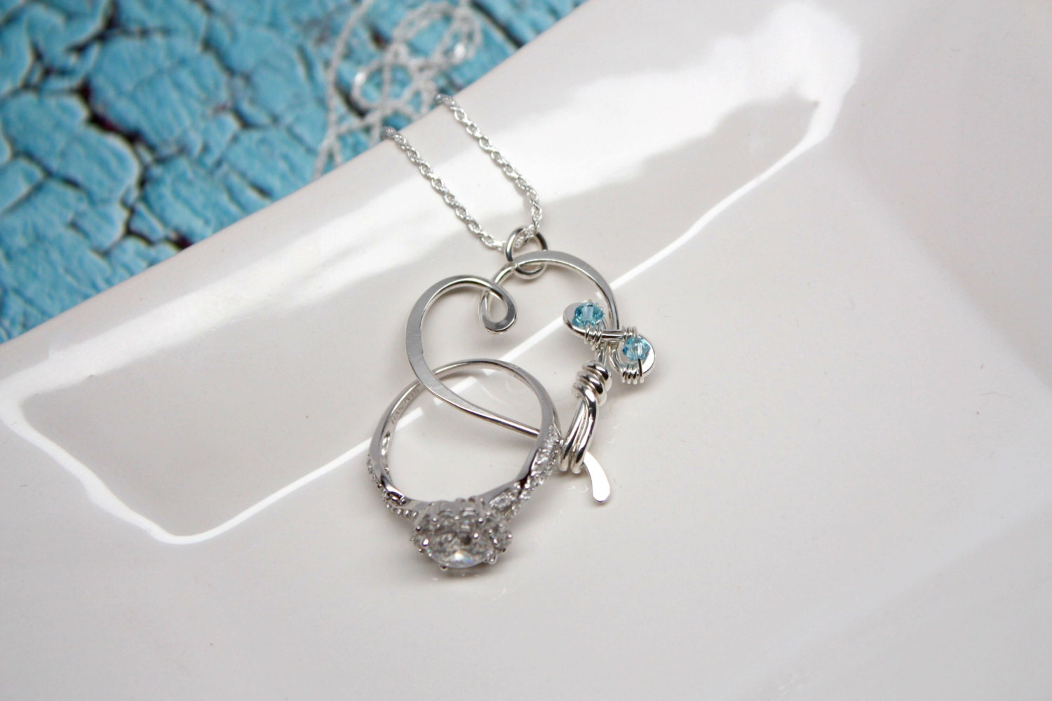 Heart Wedding Ring Holder Necklace
