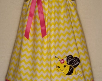 Bee Dress / Bling / Rhinestones / Yellow / Chevron / Pink / Black/ Girly/ Newborn/ Infant / Baby / Girl / Toddler / Custom Boutique Clothing