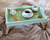 Breakfast serving tray, world map, wood, mint, made to order, fall winter home decor