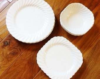 Vintage Romantic Home Heirloom White Ironstone Dish Set, Shabby Chic, Olives and Doves