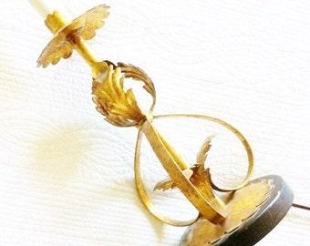 Vintage Shabby Chic Burnished Gold and Raven Black Distressed Metal Lamp Base, Cottage Home, Olives and Doves