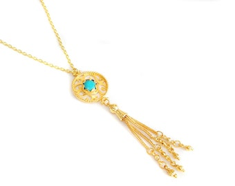 Gold gemstone turquoise rosary tassel pendant necklace, Tasseled, Minimalist Delicate Elegant Antique Ethnic