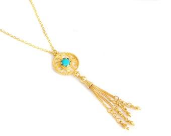 Gold Gemstone Turquoise Rosary Style Tassel Necklace, Tasseled, Minimalist Delicate Elegant Antique Ethnic