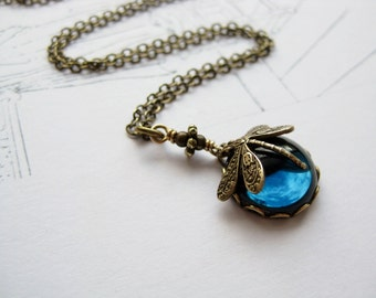 Night flight Dragonfly chain . love holidays montana dark blue vintage cabochon victorian dragonfly short brass chain