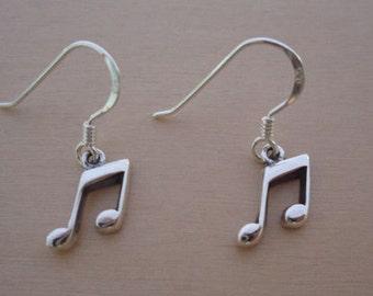 925 Sterling Silver Drop Dangling Music Notes Earrings