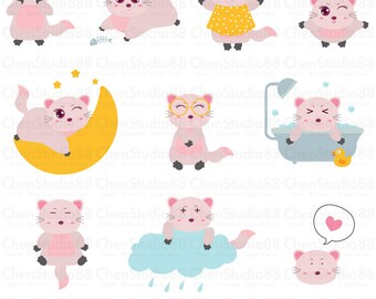 Cute cats vector - Digital Clipart - Instant Download - EPS, Pdf and PNG files included
