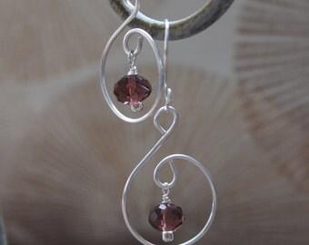 Wire sculpted earrings, Purple Crystal earrings, Purple earrings, Item #6