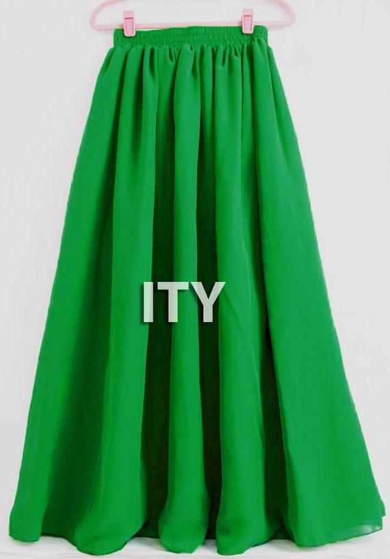 emerald green skirt skirt maxi skirt 2 layer by