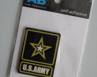 Enameled Metal Embellishment! New in Package! Amanda Blu Fine Products! Papercrafting! Mixed Media! US Army!