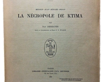 Ktima Archaeology Mission Jean Berard 1953-55 Necropole  French 1963