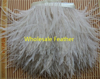 10 yards/lot light brown ostrich feather trimming fringe on Satin Header 5-6inch in width for Wedding Derss