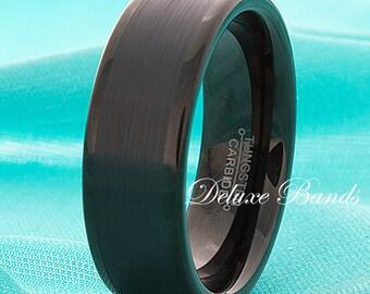 Black Tungsten Wedding Band,Tungsten Wedding Ring,Black Tungsten Anniversary Band,Flat,Brushed,Polished Edges,Tungsten Ring,Tungsten Band