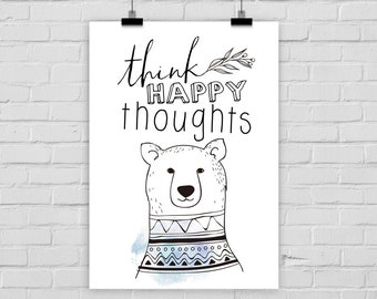 fine-art print poster THINK HAPPY THOUGHTS bear illustration