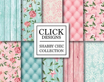 "Shabby Chic Wood Digital Paper: ""SHABBY PINK TURQUOISE"" Floral wood background, romantic papers, upholstery for wedding invites, carts"